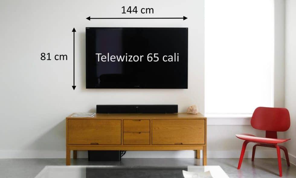 Telewizor 65 cali wymiary ekranu